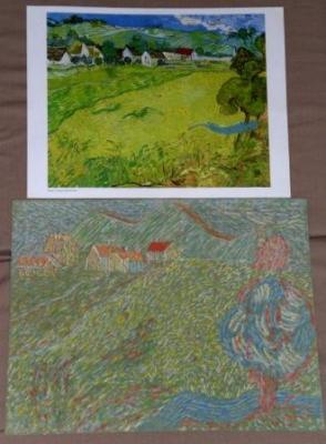 Tizas secas-Versión de un cuadro de Van Gogh