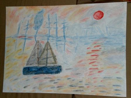 """Tizas húmedas- Versión de un cuadro de Monet """"Impression: soleil levant"""""""